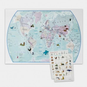 World Illustrated Sticker Map - Børne Verdenskort m/stickers