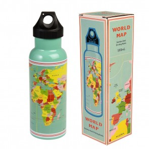 World Map Stainless Steel Bottle - drikkeflaske