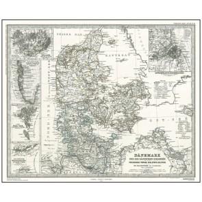 Danmark med kolonier - år 1880 (stort format)
