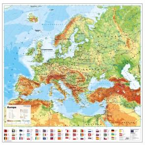 Europa fysisk med flag