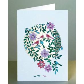 Fugle og blomster -  dobbelt kort med kuvert