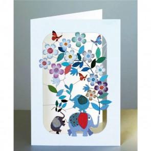 Elefant og blomster - dobbelt kort med kuvert