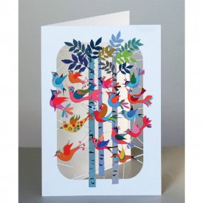 Fugle flyver gennem skoven -  dobbelt kort med kuvert