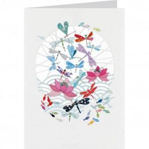 Guldsmede og fisk -  dobbelt kort med kuvert