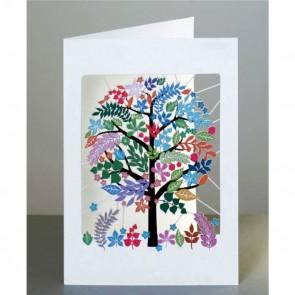 Mangefarvet  træ -  dobbelt kort med kuvert