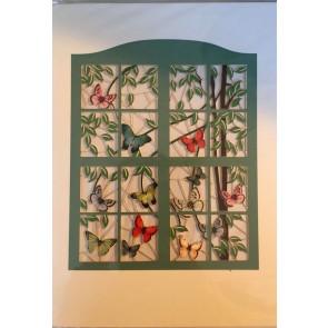 Sommerfugle og grønt vindue  -  dobbelt kort med kuvert