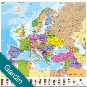 Europa politisk med flag  Gardin
