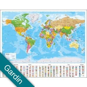 Verden politisk med flag  Gardin