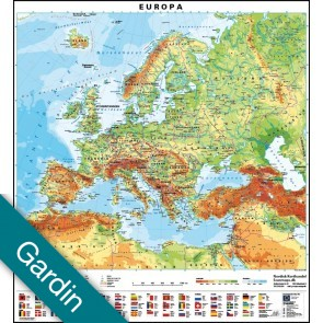 Europa med flag  Gardin