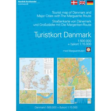Turistkort Danmark med Margueritruten + bykort
