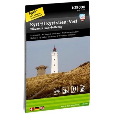 Kyst til Kyst Stien vest : Blåvands Huk - Tofterup 1:25 000