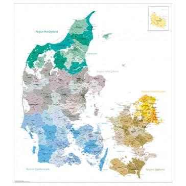 Danmarks kommuner og regioner ( med bynavne )