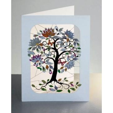 Eksotisk blomstertræ -  dobbelt kort med kuvert