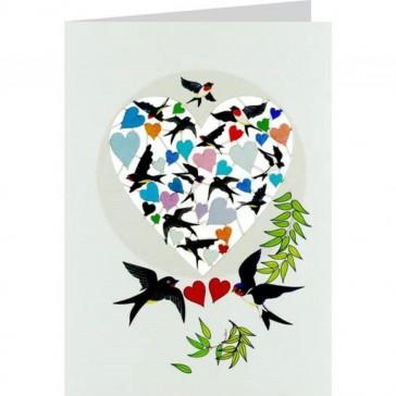 Hjerter og svaler -  dobbelt kort med kuvert