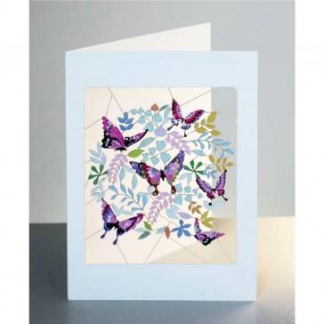 Lilla sommerfugle -  dobbelt kort med kuvert