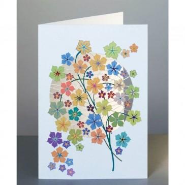 Gule blomster -  dobbelt kort med kuvert