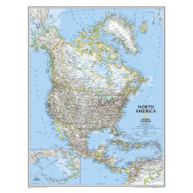 Nordamerika Usa Vaegkort National Geographic Nordisk Korthandel