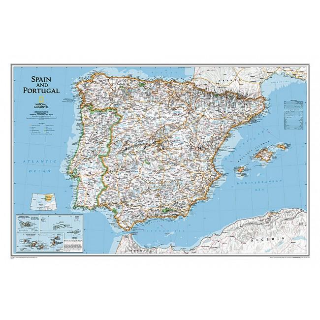 Spanien Portugal Spanien Vaegkort National Geographic