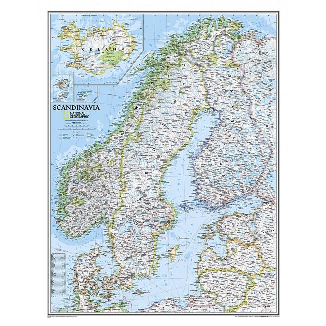 Skandinavien Vaegkort National Geographic Nordisk Korthandel