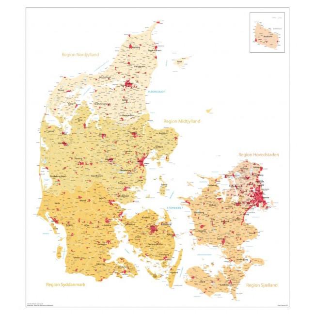 Danmarks Kommuner Og Regioner Med Bynavne Version Gul