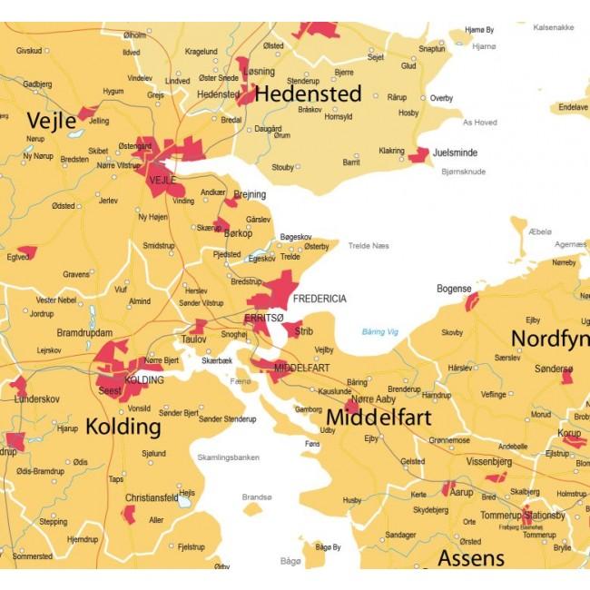 Danmarks kommuner og regioner ( med bynavne, version gul ) - Danmark - Vægkort - Nordisk ...