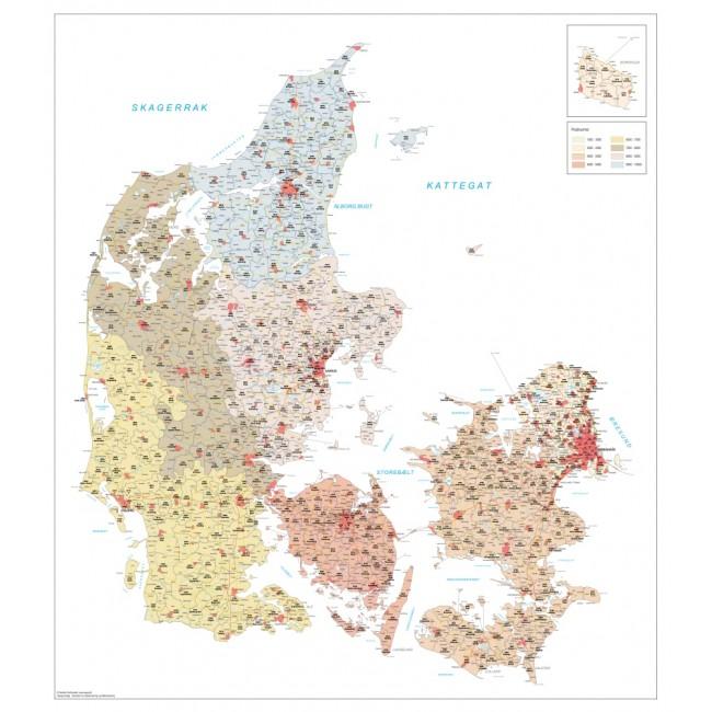 Danmark Postnummerkort Danmark Vaegkort Nordisk Korthandel