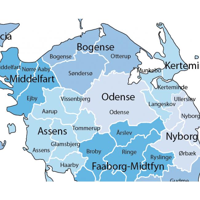 Danmarks kommuner og regioner - Danmark - Vægkort - Nordisk Korthandel - Nordisk Korthandel