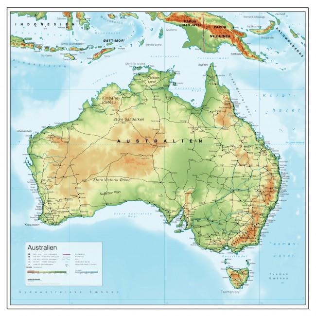 Australien Relief Australien Vaegkort Nordisk Korthandel