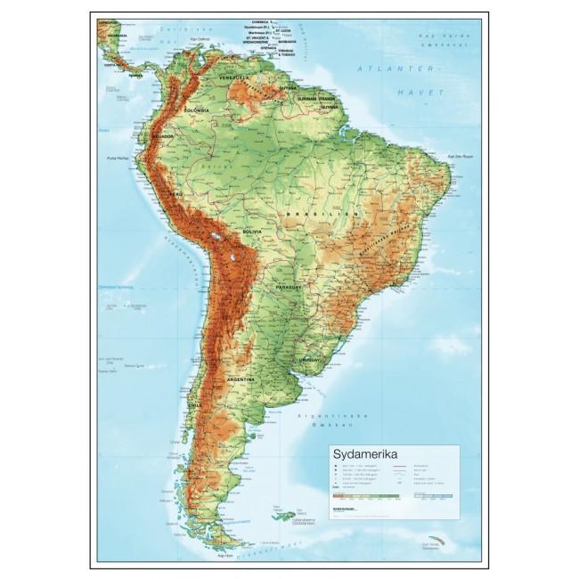 Sydamerika Relief Vaegkort Nordisk Korthandel Nordisk Korthandel