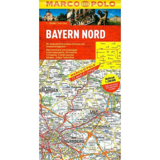 Bayern Nord Tyskland Kort Marco Polo Nordisk Korthandel