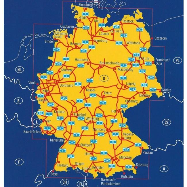 Deutschland Autobahnen Tyskland Kort Adac Nordisk Korthandel