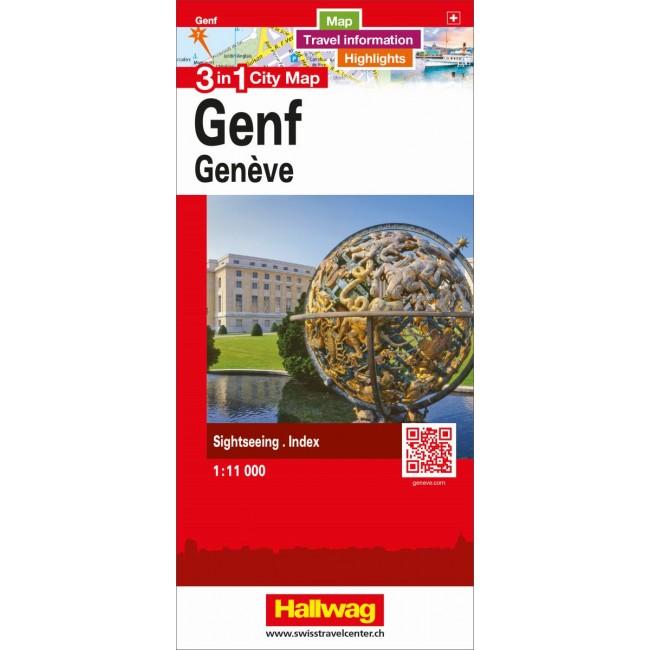 Genf Geneve 3 In 1 City Map Schweiz Kort Hallwag Nordisk