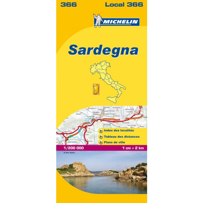 Sardegna Italien Kort Michelin Nordisk Korthandel
