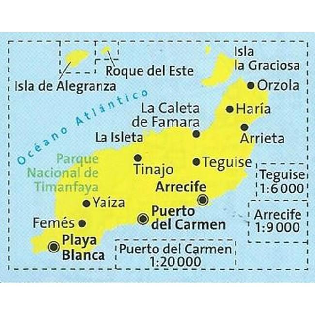 Lanzarote Spanien Kort Kompass Nordisk Korthandel