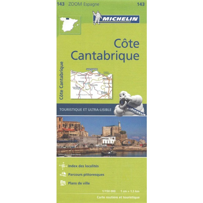 Costa De Cantabria Spanien Kort Michelin Nordisk Korthandel