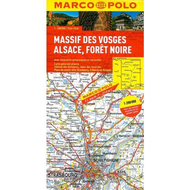 Vogesen Alsace Schwarzwald Frankrig Kort Marco Polo