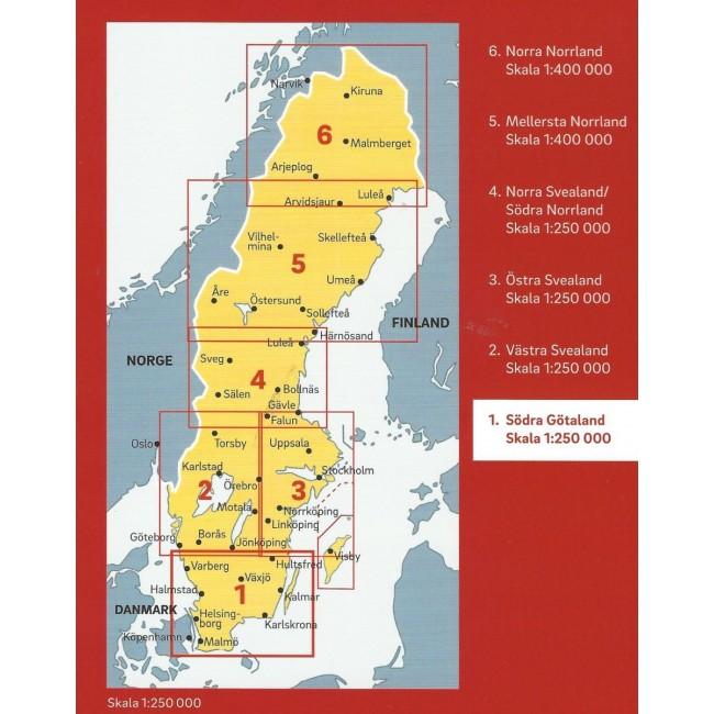 Sodra Gotaland Sverige Kort Lantmaeteriet Kartforlage