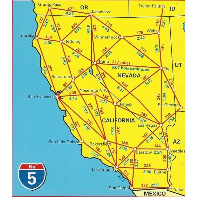 California Usa Kort Hallwag Nordisk Korthandel