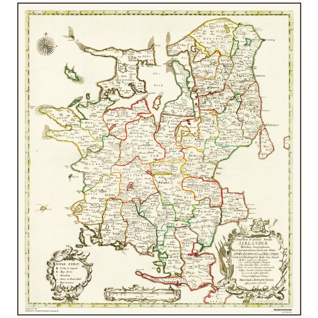 Sjaelland Ar 1764 Danmark Vaegkort Nordisk Korthandel
