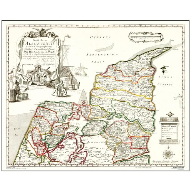 Nordjylland Ar 1768 Danmark Vaegkort Nordisk Korthandel