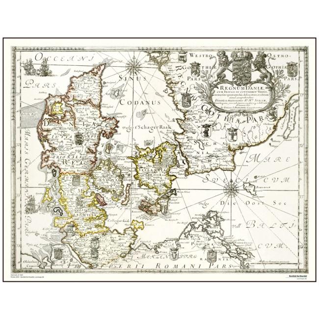 Danmark Ar 1660 Danmark Vaegkort Nordisk Korthandel