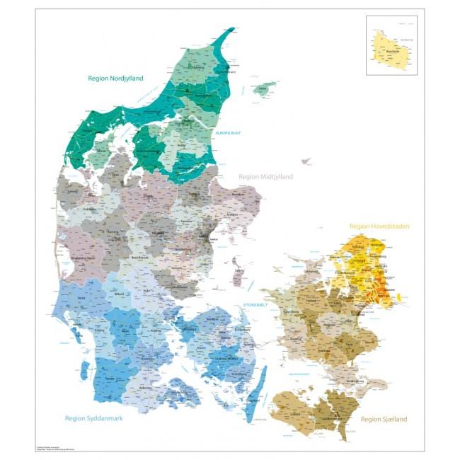 Danmarks Kommuner Og Regioner Med Bynavne Danmark Vaegkort