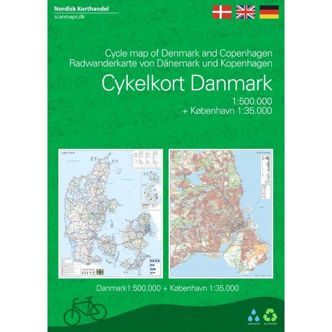 Cykelkort Danmark Og Kobenhavn Danmark Kort Nordisk