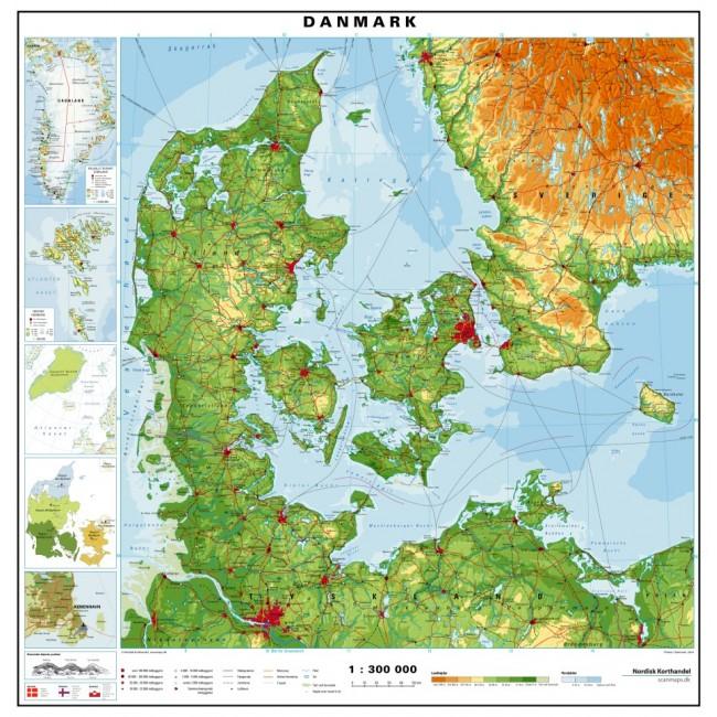 Danmark Fysisk Skolekort Nordisk Korthandel Nordisk Korthandel