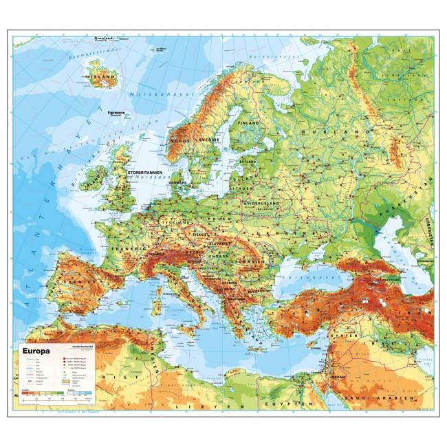 Europa Fysisk Uden Flag Skolekort Nordisk Korthandel Nordisk