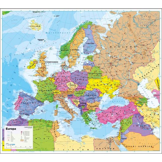 Europa Politisk Uden Flag Vaegkort Nordisk Korthandel Nordisk