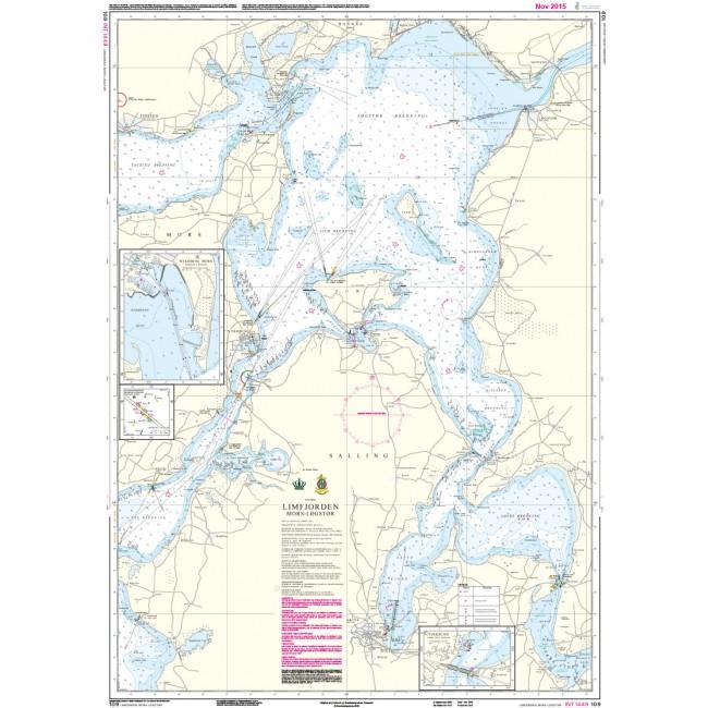 109 Limfjorden Mors Logstor Kortmal 65 X 91 Cm Danmark