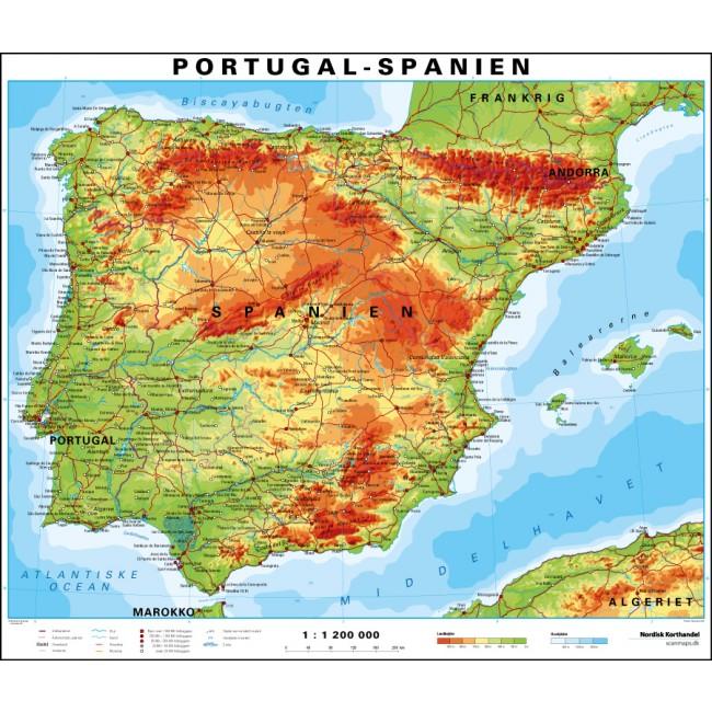 Spanien Portugal Spanien Vaegkort Nordisk Korthandel