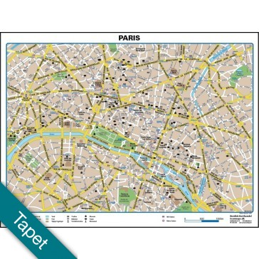 Paris bykort Tapet