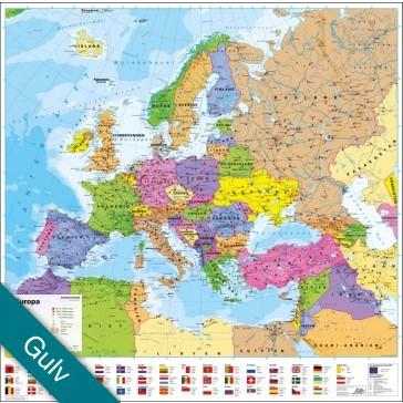 Europa politisk med flag  Gulvlaminering